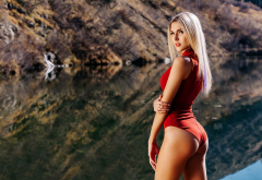 blonde, ass, tanned, one-piece, ass, lake wallpaper