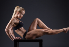 bodybuilder, fitness model, blonde, muscles, oiled, legs wallpaper