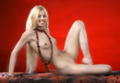 zhanna a, small tits, model, shaved pussy, blonde, skinny, necklace wallpaper