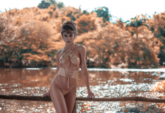 one-piece, belly, water, depth of field, sexy swimsuit wallpaper