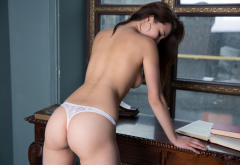ass, white panties, back, topless, brunette, sexy wallpaper