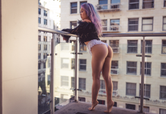 asian, ass, dyed hair, balcony, lingerie, sexy, panties, big ass wallpaper