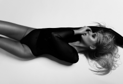 top view, one-piece, leotard, closed eyes, monochrome, sexy wallpaper