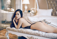 asian, ass, one-piece, black lingerie, sexy ass wallpaper
