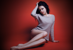 sitting, black hair, hands on head, sexy legs wallpaper