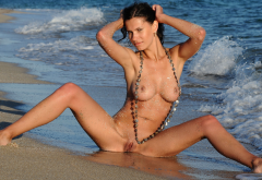 susi r, beach, sea, naked, shaved pussy, wet, spread legs, boobs, tits, sexy wallpaper