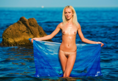 wet, skinny, naked, small tits, haired pussy, sea, beach, blonde wallpaper