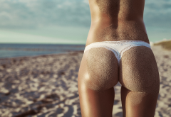 ass, sea, sand, sand covered, tanned, back, white panties, beach wallpaper