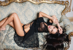 angelina petrova, model, black lingerie, couch, brunette wallpaper