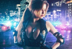 big boobs, cleavage, boobs, police, model wallpaper