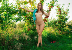 shaved pussy, tits, smiling, boobs, apples, tree, grass, outdoor wallpaper