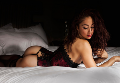 michelle janine costelo, ass, in bed, lingerie, closed eyes, black stockings, corset wallpaper
