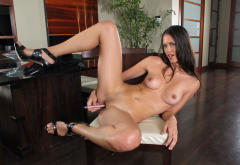 Tiffany Thompson, shaved pussy, tits, brunette, boobs, dildo, spreading legs wallpaper