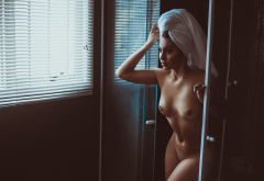 nude, tanned, window, shower, nipples, towel, belly, shaved pubic hair, tits, shaved pussy wallpaper