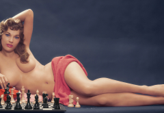 gloria walker, playboy, chess, retro, sexy, topless, boobs wallpaper