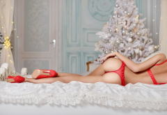 red lingerie, ass, back, high heels, in bed, christmas tree, christmas, holidays, sexy ass, thong, red panties wallpaper