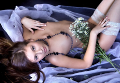 sexy, brunette, shite stockings, flowers, tits, beads wallpaper