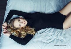 leotard, top view, in bed, blue eyes, lying on back, sexy wallpaper