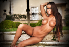 mareeva, fake tits, big tits, boobs, nipples, tanned, brunette, shaved pussy wallpaper