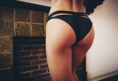 black panties, tanned, ass, sexy wallpaper