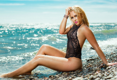 blonde, one-piece, tanned, sitting, sea, stones, water drops, wet hairs, wet, beach wallpaper