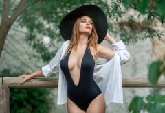 miriam escobar, one-piece swimsuit, cleavage, boobs, hat, busty wallpaper
