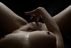 water drops, wet, big tits, boobs, hard nipples, sexiest, fingering wallpaper