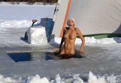 katya clover, winter, snow, swimming, tanned, tits, shaved, freeze, cold wallpaper