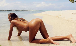 katya clover, tanned, beach, wet, sand, sea, ass, doggy, tits, sexy wallpaper
