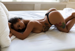 tattoo, bent over, ass, in bed, arched back, black panties wallpaper