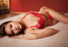 nicole young, women, red lingerie, in bed, brunette, lingerie wallpaper