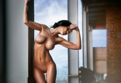 skinny, big tits, boobs, shaved, landing strip, brunette, navel, tanned wallpaper