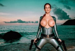 water, big tits, Bianca Beauchamp, redhead, wetsuit, guns wallpaper