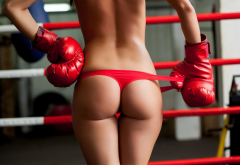 ass, boxing gloves, red panties, the gap, back, holding panties wallpaper