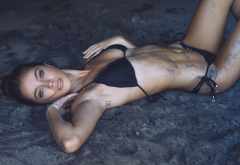 cameron rorrison, tanned, black bikini, sand, sand covered, beach wallpaper