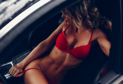 tanned, sitting, car, belly, red lingerie, holding panties, red bra wallpaper