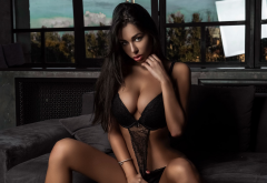 irena malinskaya, tanned, sitting, couch, black lingerie, big tits, boobs wallpaper