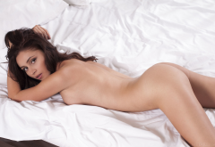 red fox, in bed, brunette, tits, naked, ass, back wallpaper