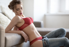women, couch, red lingerie, belly, pants down, jeans, sexy wallpaper