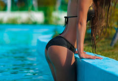 anzhelika jaritonovav, ass, tanned, swimming pool, black bikini, wet wallpaper