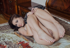 red fox, pussy, labia, in bed, brunette, legs up, ass wallpaper