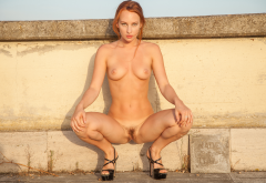 sally a, redhead, naked, roof, hairy pussy, tits, boobs, spread, legs wallpaper