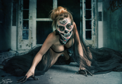 cleavage, bent over, body art, fantasy girl, model, skull, boobs, busty wallpaper