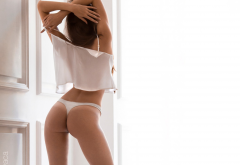 margo amp, white panties, ass, back, brunette, see-through clothing, sexy wallpaper