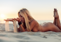 beach, naked, tanned, ass, feet, blonde, sea, sunset wallpaper