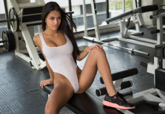 denisse gomez, tanned, gym, sneakers, watch4beauty, tattoo, leotard, brunette, shaved, sexy wallpaper