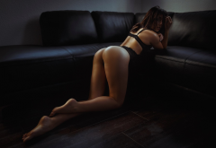 tanned, ass, black lingerie, couch, hair in face, sexy ass wallpaper