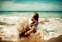 tanned, sea, beach, sand, one-piece swimsuit, closed eyes, kneeling, sexy, splash wallpaper