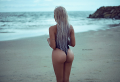 genesis ruiz, women, ass, sea, back, one-piece swimsuit, hot ass, sexy ass, beach, sea wallpaper