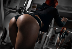 hot ass, ass, tanned, redhead, gym, mirror, reflection, sportswear, sporty ass wallpaper